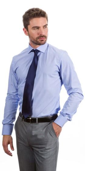 Camisa a medida a rayas azul y blanco
