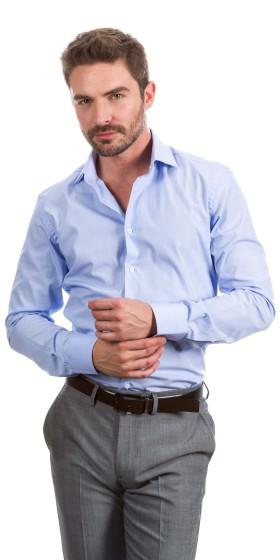 Camisa a medida azul