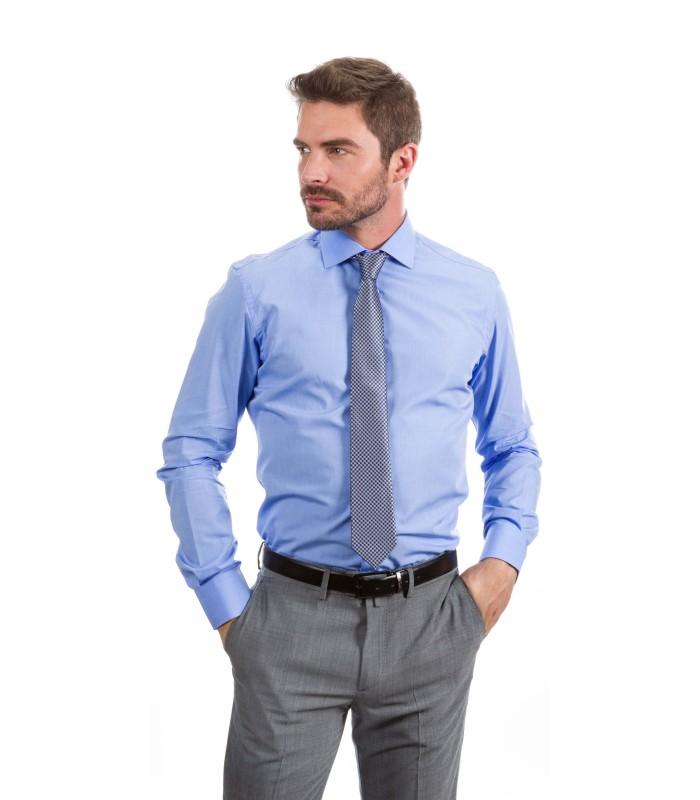 Camisa a medida azul con dibujo diagonal | Confeccion de