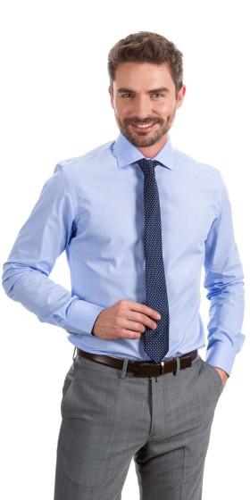 Camisa a medida ojo de perdiz azul