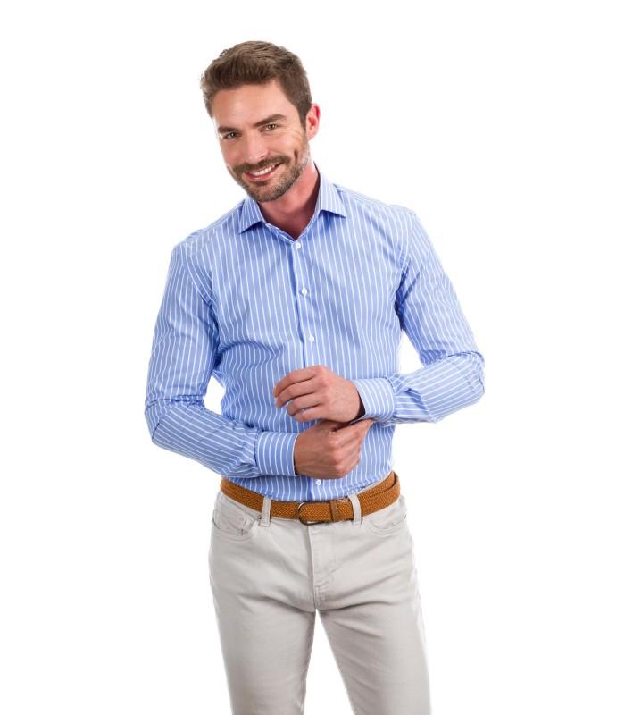 Camisa a medida azul oscuro con líneas blancas  8048a7c813050