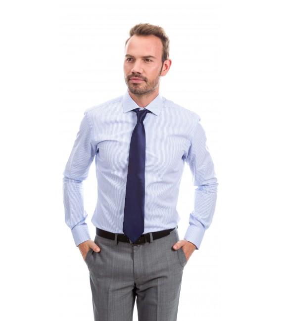 Camisa a medida rayas pequeñas azules y blancas