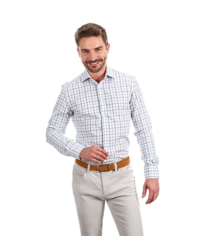 8b23e3eb07 Camisa a medida líneas azul horizontales y verticales