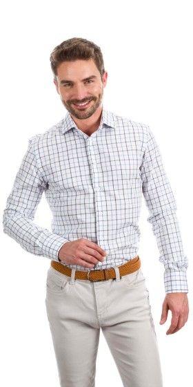 Camisa a medida líneas azul horizontales y verticales