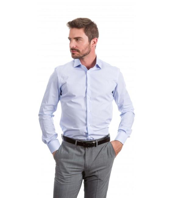 Camisa a medida cuadrados pequeños azul claro