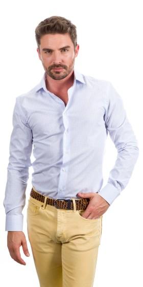 Camisa a medida cuadrados grandes azul claro