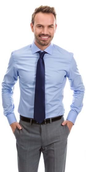 Camisa a medida popelin azul oscuro
