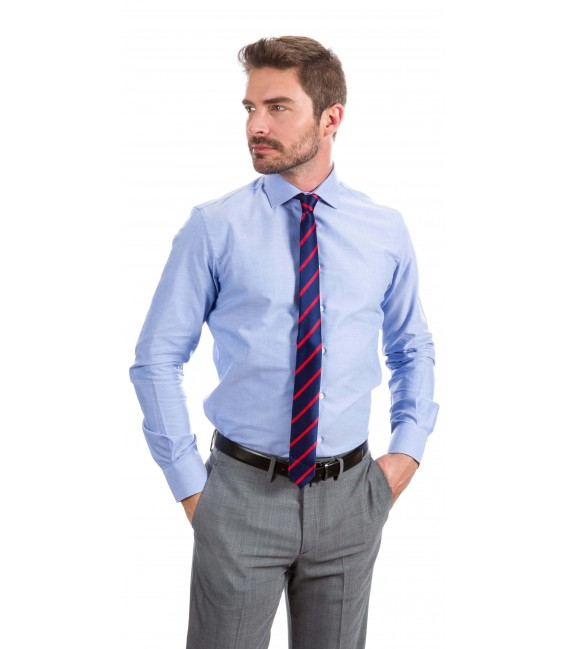 Camisa a medida Oxford azul oscuro