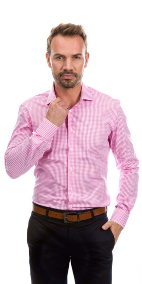 Camisa a medida cuadros rosa y blanco