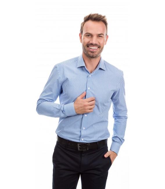 Camisa a medida rayas azul y blanco
